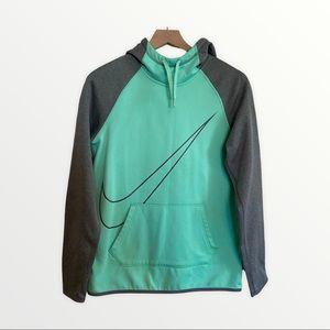 NIKE Small Petite Green Grey Athletic Hoodie